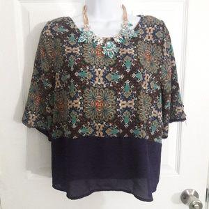 SALE! Black Bead purple blouse size medium